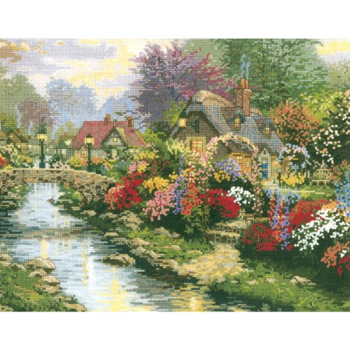 M C G Textiles 14 Count Thomas Kinkade Lamplight Bridge Counted Cross Stitch Kit, 14 By 11-Inch