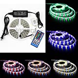 SUPERNIGHT 16.4ft Waterproof RGBW LED Flexible Strip Lights Kit 12V 5M 300 LEDs Ribbon Lamps Lights + 40 Keys Infraed Remote Controller + 12V 5A Power Supply