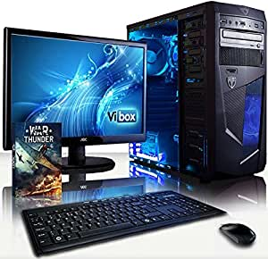 """VIBOX Centre Package 10 - 3.9GHz Multimedia, Desktop PC, Computer, Complete Full Package for the Home, Office or Family with WarThunder Game Bundle, 22"""" Widescreen Monitor, Keyboard & Mouse, Neon Internal LED Fans PLUS a Lifetime Warranty Included* (New 3.7Ghz (3.9GHz Turbo) AMD A4 6300 Dual Core CPU Processor, Integrated Radeon HD 8370D Gaming Graphics Card Chip, 1TB SATA III Hard Drive, 8GB 1600MHz High Speed RAM Memory, Gamer Case, DVD-RW, No Operating System Included)"""