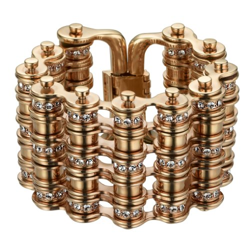 Mawi London Five Link Pave Rose Gold Plated Crystal Bike Chain Bracelet of 22cm size medium