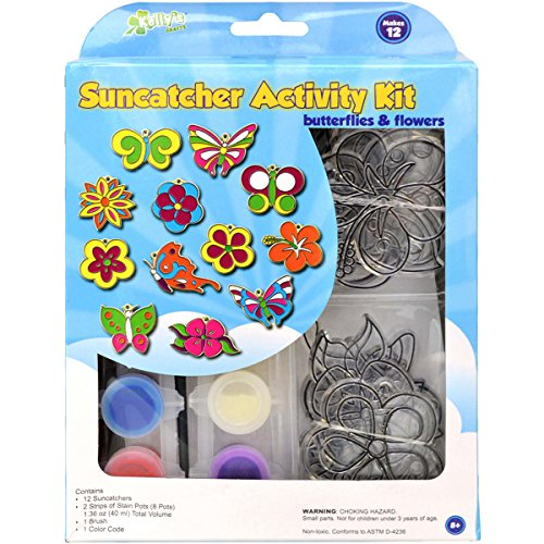 New Image Group SGP-89 Suncatcher Group Activity Kit, Butterfly and Flowers, 12-Pack - 1
