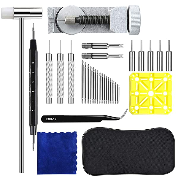 Watchband Tool Kit, Lifegoo 139 in 1 Strap Link Repair Tool with Hammer, Spring Bar, Link Remover, Holder, Watch Strap Pins, Spring Bar Tips, Pin Punches, Watch Band Spring Pins, Tweezers, Cloth, Bag