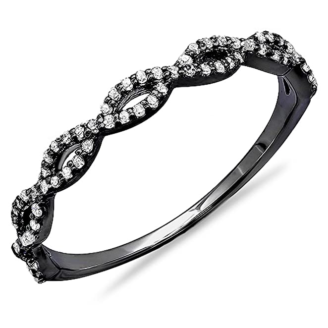 Black Rhodium Plated 10K White Gold Round Diamond