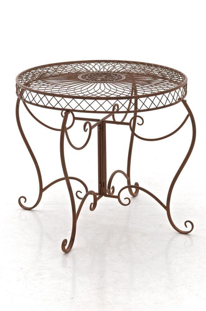 CLP runder Eisen-Tisch SHEELA in nostalgischem Design, Durchmesser Ø 88 cm, Höhe 70 cm (aus bis zu 6 Farben wählen) antik braun
