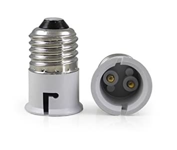 Light Bulb Screw Base: Think3 B22 to E27 Screw Base Socket Lamp Holder Light Bulb Adapter (Brass),Lighting