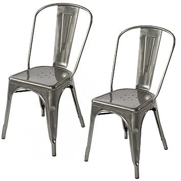 Amazon.com - Lemoderno Galvanized Steel Side Chair (2, Gun Metal) -