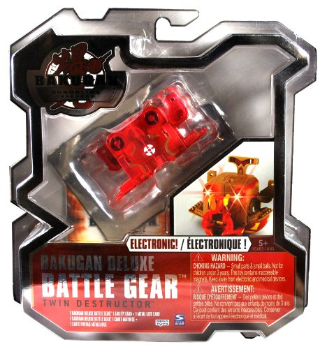 Spin Master Year 2010 Bakugan Gundalian Invaders Deluxe Electronic Battle Gear Set - Double Cannon TWIN DESTRUCTOR (Gold - 90Gs) with 1 Ability Card and 1 Metal Gate Card - 1