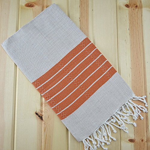 Turkish Peshtemal (Aka Pestemal) Towel Thin Quick Dry Camping Bath Sauna Beach Gym Yoga Pool Bathrobe Fouta Towel **** Peshtemal Collections – One Stop Pestemal Shop*** (Linen_orange)