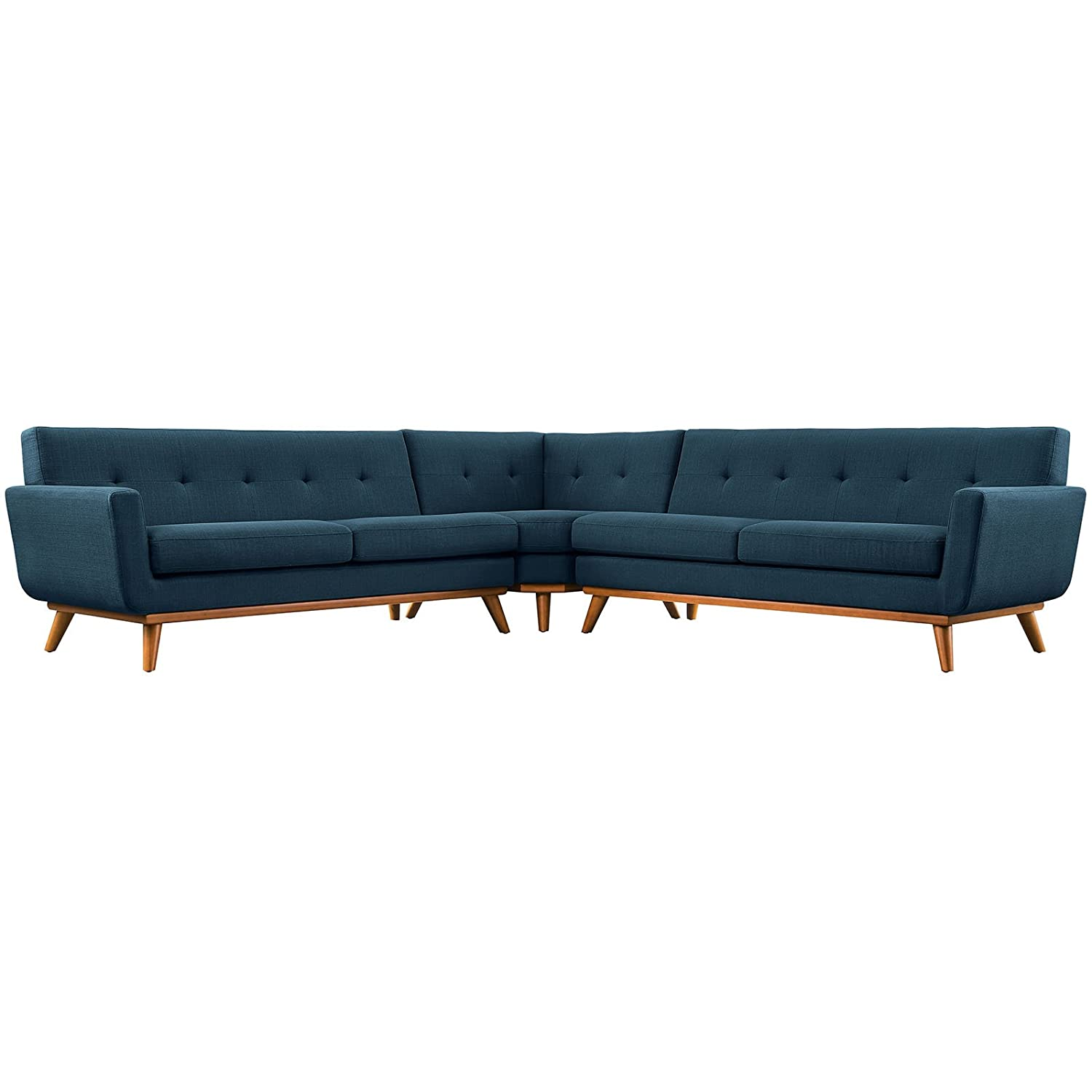 Modern Contemporary L-Shaped Sectional Sofa - Navy - Fabric