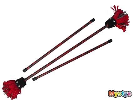 MyStyx bâton du diable / bâton fleur en silicone et cuir - Motif Lave Molten - Kit complet avec baguettes de contrôle, bande scratch et sac en nylon.