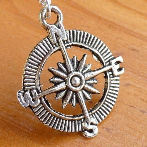 Steampunk Nautical Pirate compass necklace pendant charm