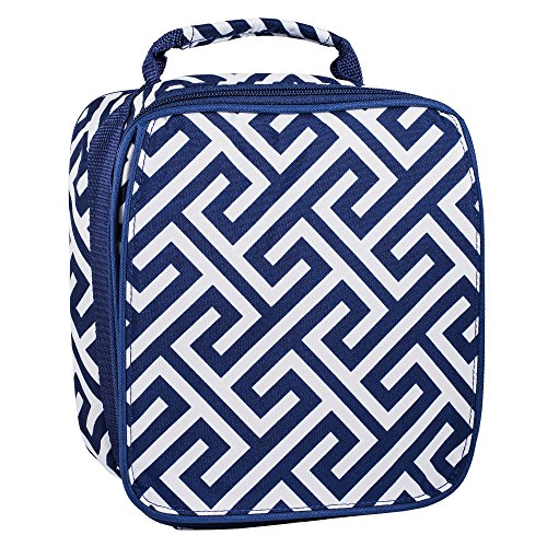 Insulated Water Resistant Lunch Bag (Navy Greek Key)
