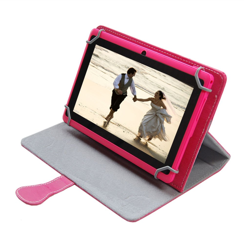 JYJ 7 Inch Android 4.4 KitKat Google Tablet PC Quad Core 16GB Allwinner A33 Cortex A7 Dual Camera 10 Point Capacitive 1.6GHz DDR3 512M Mali400MP2 WIFI Pink with Red Leather CaseCustomer review and more information
