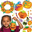 Halloween Craft Super Value Pack! Save 29% when bought in pack! Includes 4 pumpkin lantern kits, 1 Halloween foam wreath, 4 Halloween keyring and bag dangler kits, 12 pumpkin scratch art magnets and 2 pumpkin sewing kits