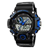 Fngeen Military Sports Watch Led Light Analog Digital Waterproof Alarm,Blue (Color: Blue)
