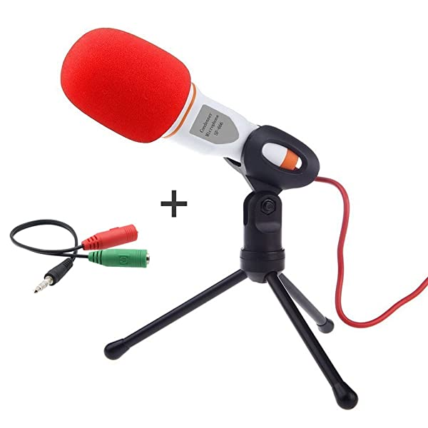 Buycitky Computer Microphone,Condenser Microphone,Podcast Microphone,Desktop Microphone,Studio Microphone with Stand 3.5mm Plug & Play for Online Chat