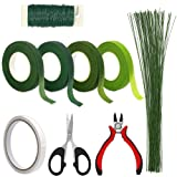 Floral Arrangement Tools, WEST BAY 9Pcs Flower Craft Tools Include Floral Wire Cutter Shears 4Pcs Floral Tape 26 Gauge Stem Wire 22 Gauge Paddle Wire Double-Sided Tape for Bouquet Stem Valentines Gift (Color: green, Tamaño: shears)