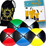 """5x Pro Thud Juggling Balls Deluxe (Leather) Professional Juggling Ball Set Of 5 + """"Kid Jo Learn To Juggle"""" Dvd..."""
