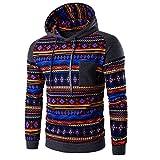 Permalow Men's Bohemia Retro Long Sleeve Hoodie Hooded Sweatshirt Tops (M)