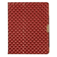 Laurex Faux Leather Case For Apple New IPad & IPad 2 Diamond Texture Embossed - Red