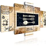 Bilder-100x50-cm-Fertig-Aufgespannt-TOP-Vlies-Leinwand-5-Teilig-Wand-Bild-Kunstdruck-Wandbild-Vintage-KCHE-020115-87-100x50-cm-BD-XXL