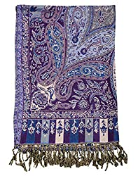 Party Wear Viscose Stole Purple 80x40 Paisley Self Weaved shawl By Rajrang