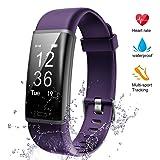 Lintelek Fitness Tracker, Heart Rate Monitor Activity Tracker Sleep Monitor, Measuring Calories Step Counter IP67 Waterproof Smart Watch Wearable Device for Men Women Kid Android iOS Veryfitpro (Color: Purple)