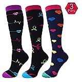 EHbee 3 Pairs Compression socks Women & Men 15-20 mmhg, Perfect Compression Stockings Nurse,Running, Maternity Pregrancy, Flight, Travel, Medical,Sport. (Assorted3, L/XL)