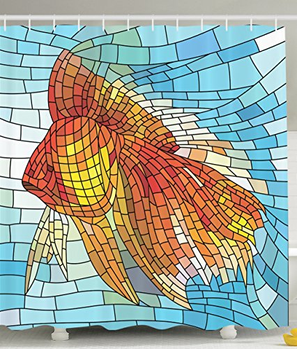 Personalized Decor Abstract Design Shower Curtain for Bathroom Orange Tropical Fish Style with Mosaic Art Pattern Stained Glass Window and Gold Fish Underwater Blue Ocean Decorations Print (Mosaic Fish compare prices)