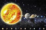 Un papel pintado que muestra el sistema solar con planetas - papel pintado fotogr�fico con el cosmos, el universo la galaxia - estrellas, cielo, la lu