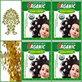 (Qty. 4) 100g Certified Organic Henna Powder for Hair Color Conditioning. Golden Brown Color.