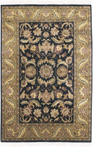2' x 3' Rectangular Surya Accent Rug TJ309-23 Black/Dark Gold Color Hand Knotted India