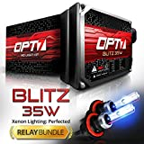 OPT7® Blitz HID Xenon Conversion Kit w/ Relay Harness & Capacitors - 2 Year Warranty - 9005 (6000K, Lightning Blue)