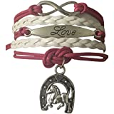 Infinity Collection Girls Horse Charm Bracelet, Horse Lovers Equestrian Jewelry For Women and Girls (Tamaño: Regular)