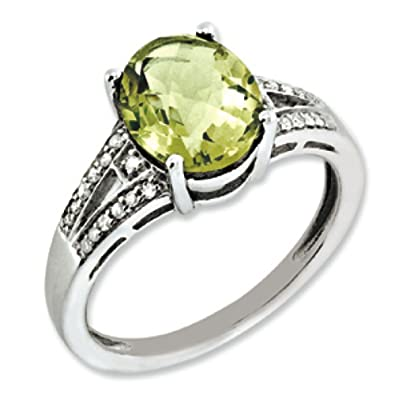 Sterling Silver Rough Diamond and Lemon Quartz Ring - Ring Size Options Range: J to T