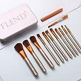 Flend 12 Pieces Premium Makeup Brush Set, Professional Makeup Brushes, Synthetic Kabuki Foundation Cosmetic Brushes (Mini brushes)