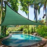 16.5' Triangle Outdoor Sun Shade Sail Canopy Green Polyethylene Fabric Material w/ Rope Carrying Bag UV Block Portable for Patio Lawn Yard Garden Swimming Pool Spa