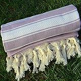Lilac Turkish Towel Peshtemal - 100% Natural Dyed Cotton - for Beach Spa Bath Swimming Pool Hammam Sauna Yoga Pilates Fitness Gym Picnic Blanket (Dandelion Textile)