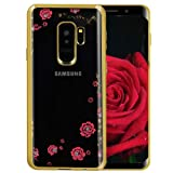 Amocase Soft Clear Case with 2 in 1 Stylus for Samaung Galaxy A60,Premium Bling Glitter Crystal Pink Flower Butterfly Electroplate Frame Back Case for Samaung Galaxy A60 - Gold (Color: Gold, Tamaño: Samaung Galaxy A60)