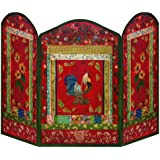Stupell Home 3 Panel Decorative Fireplace Screen, Red Rooster, 44 by 31 by 0.5-Inch
