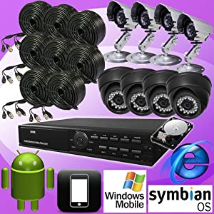 DNT 8ch 8 Channel H.264 Standalone Surveillance CCTV DVR Digital Video Recorder with 8 Color Day Night Vision Camera Security Complete System Package, Real Time CIF Record 240fps, Remote Network Monitoring, Support Internet Explorer, I-phone, Android, Wince, Symbian. CMS Software, 8ch Playback Simultaneously, USB Backup/vga Output/8 Audio Input, Support USB Mouse Control with 500GB Hard drive