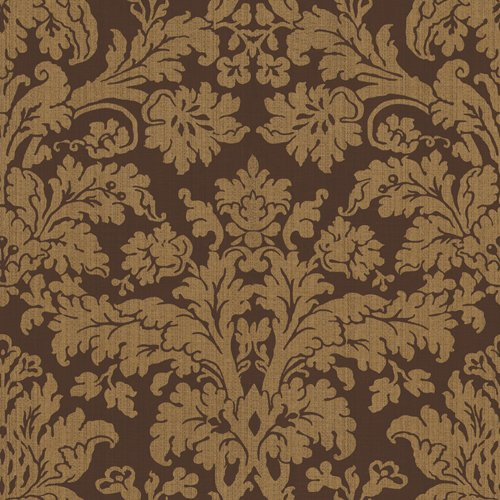 Waverly 5511946 Waverly Damask Wallpaper, Chocolate Brown, 20.5-Inch
