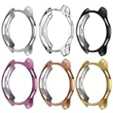 Case Compatible Samsung Galaxy Watch 42mm, NaHai TPU Slim Plated Case Shock-Proof Cover All-Around Protective Bumper Shell for Galaxy Watch 42mm Smartwatch, 6 Packs (Color: 6 Packs)