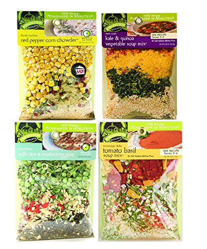 Variety 4-Pack Frontier Soups Homemade In Minutes Soup Mix - Red Pepper Corn Chowder (5 oz), Kale & Quinoa Vegetable (4.25 oz), Wild Rice & Mushroom (4 oz), and Tomato Basil Soup Mix (4 oz) (Tomato Basil Rice Cakes compare prices)