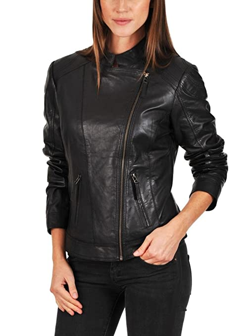 Exemplar LL940 Damen Lederjacke, Lammleder, Schwarz