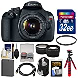Canon EOS Rebel T5 Digital SLR Camera Body & EF-S 18-55mm IS II Lens with 32GB Card + Backpack + Battery + Tripod + Tele Wide Lens Kit