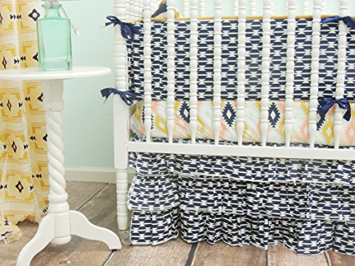 Tushies and Tantrums Aztec Crib Bedding, Ruffle Skirt, Mint/Peach/Gold/Navy Blue