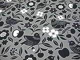コスモテキスタイル 北欧の森 小鳥 オックス AP51306 約110cm巾×1mカット col.2D