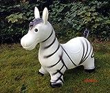 Zebra Hüpftier Hüpfpferd Hüpfesel in weiß von KANANA