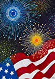 """ Liberty "" - American Flag & Fireworks Garden Size 12 Inch X 18 Inch Decorative Flag"